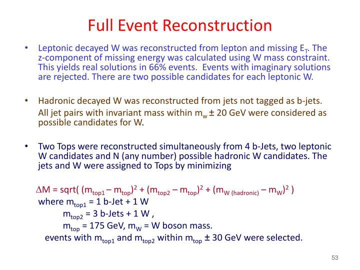 Full Event Reconstruction