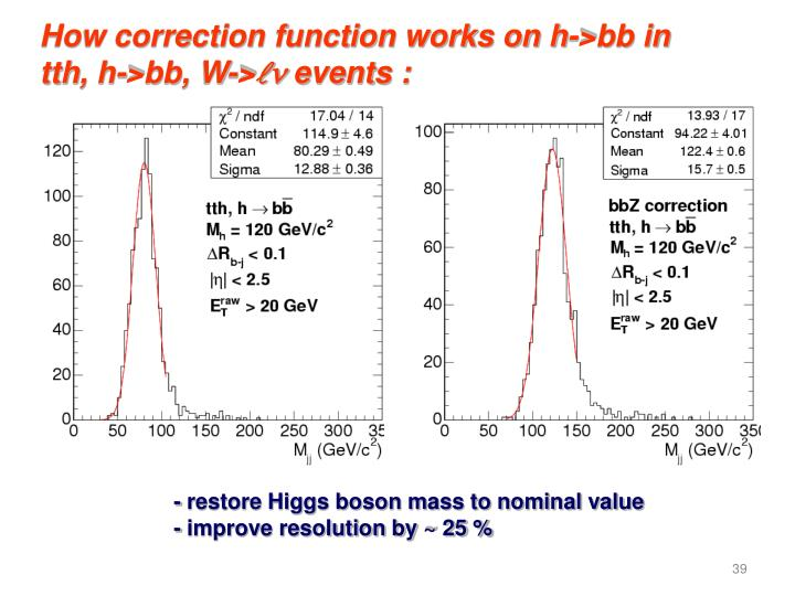 How correction function works on h->bb in
