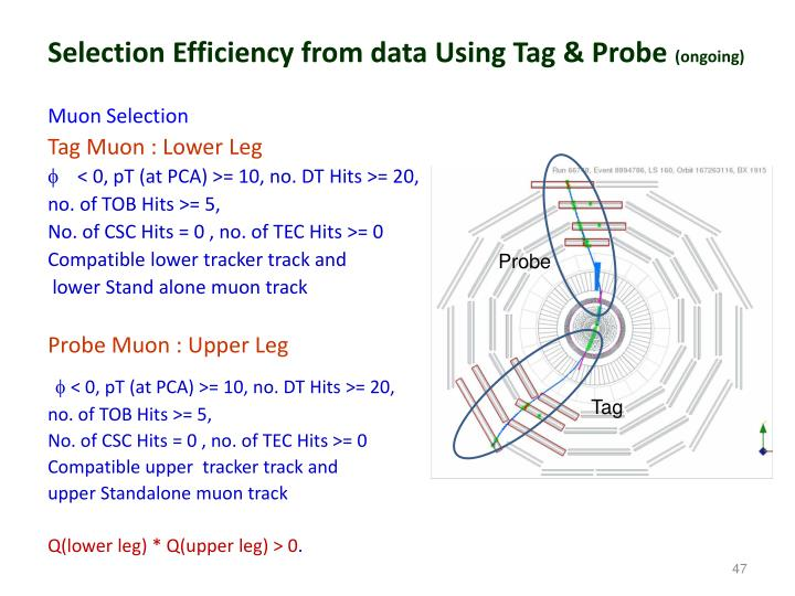 Selection Efficiency from data Using Tag & Probe