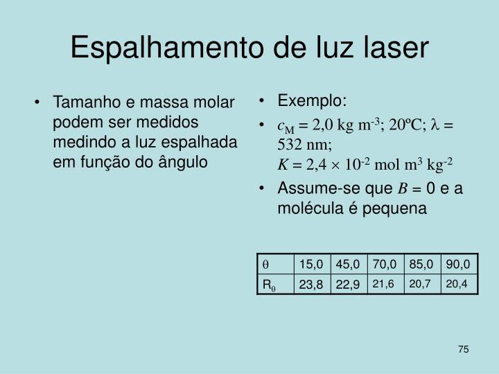 Tamanho e massa molar podem ser medidos medindo a luz espalhada em função do ângulo