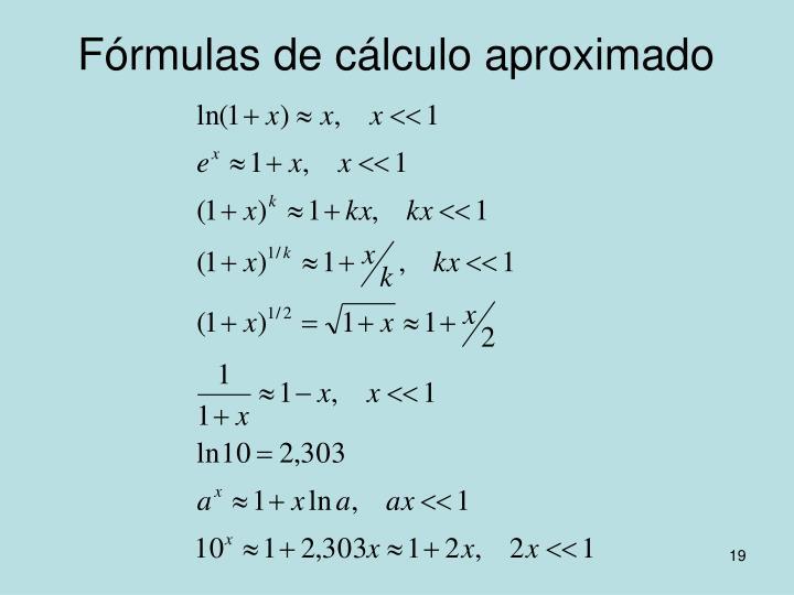 Fórmulas de cálculo aproximado