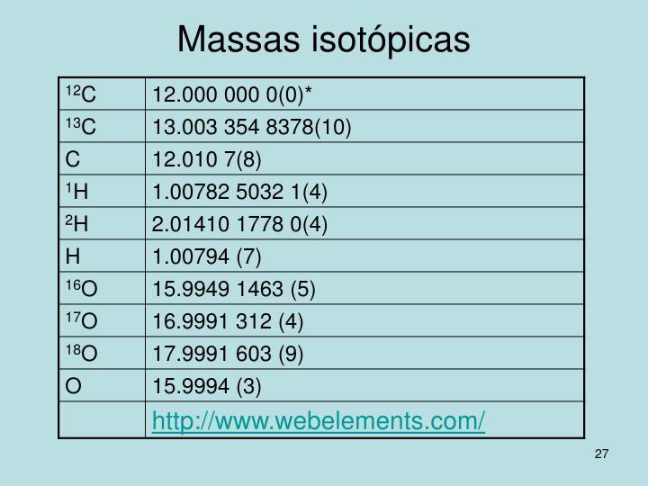 Massas isotópicas