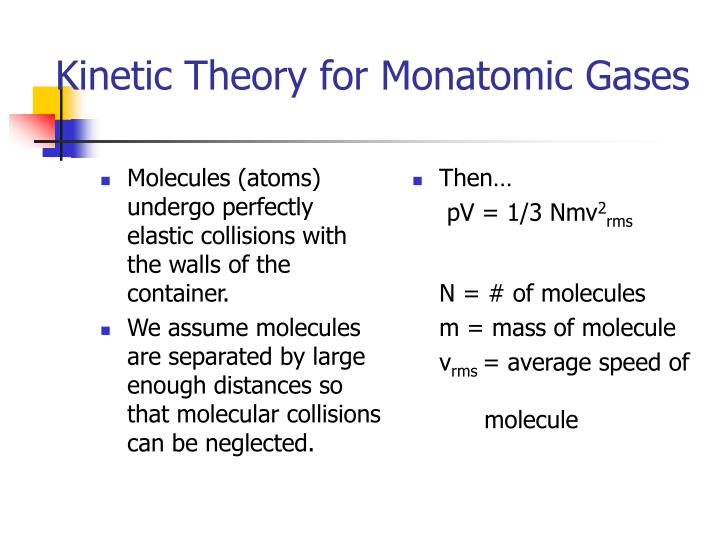 Molecules (atoms) undergo perfectly elastic collisions with the walls of the container.