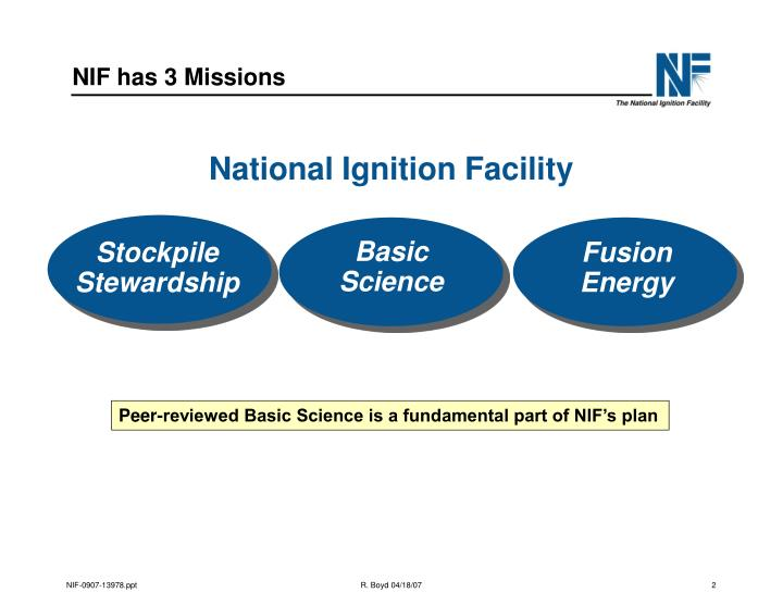 NIF has 3 Missions