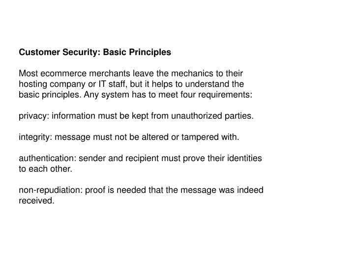 Customer Security: Basic Principles