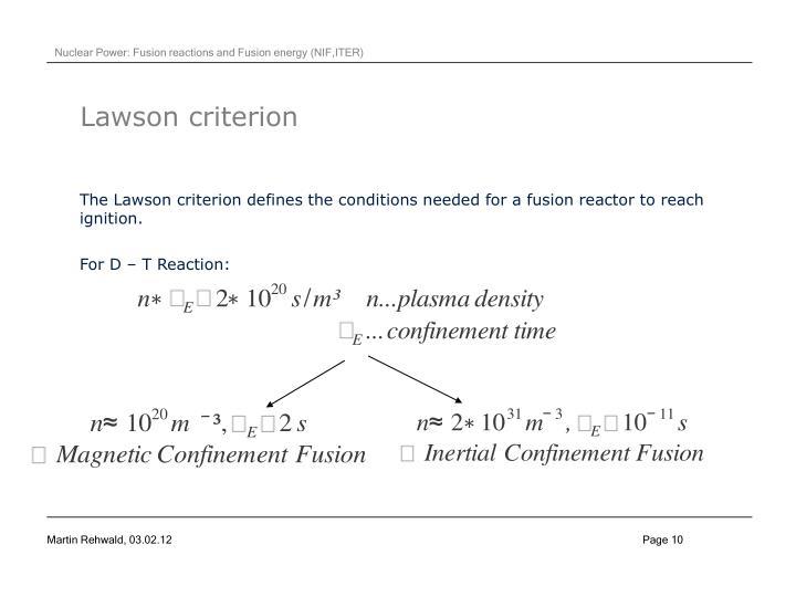 Lawson criterion
