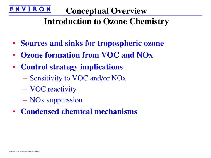 Conceptual overview introduction to ozone chemistry
