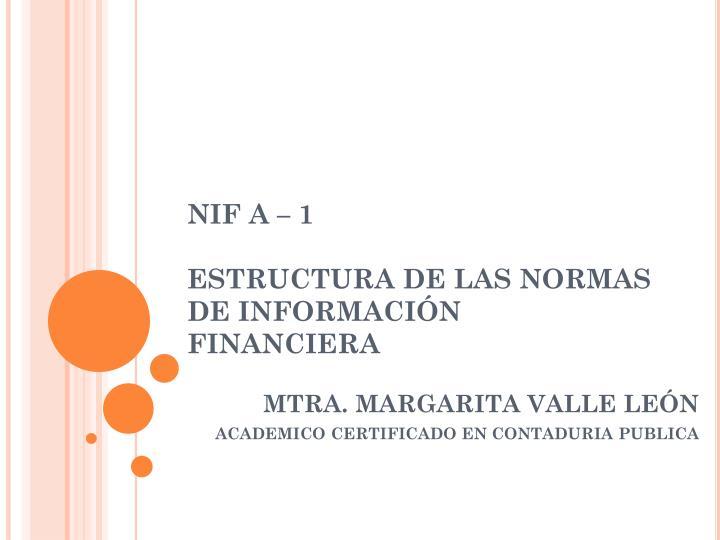 NIF A – 1