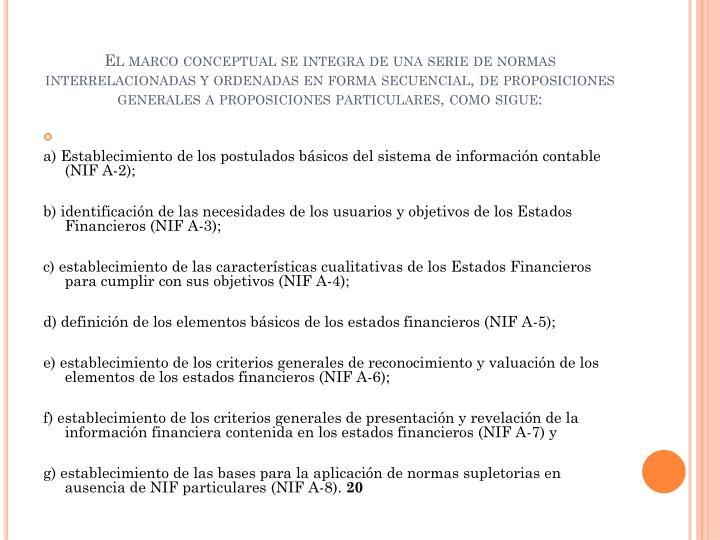 El marco conceptual se integra de una serie de normas interrelacionadas y ordenadas en forma secuencial, de proposiciones generales a proposiciones particulares, como sigue: