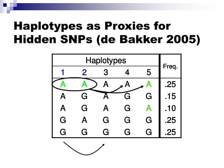 Haplotypes as Proxies for Hidden SNPs (de Bakker 2005)