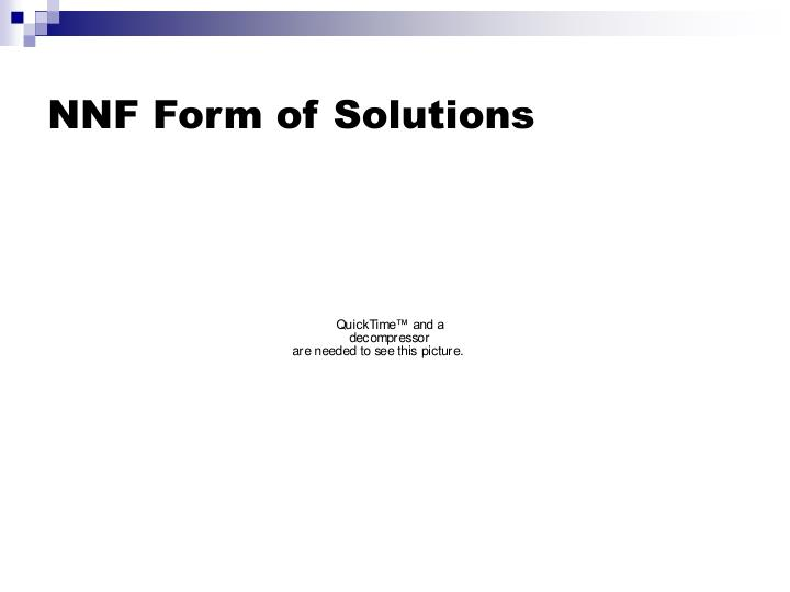 NNF Form of Solutions