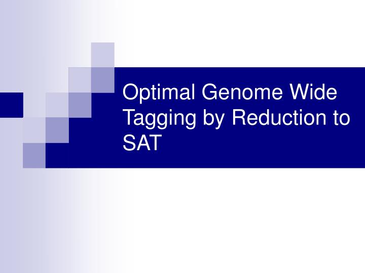 Optimal Genome Wide Tagging by Reduction to SAT