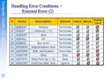 handling error conditions external error 2