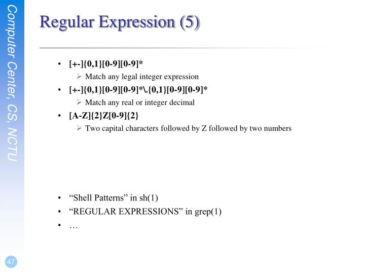 Regular Expression (5)
