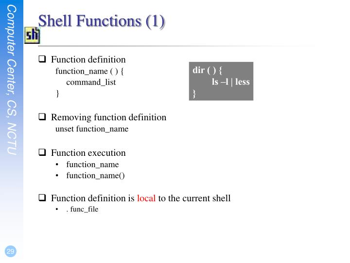 Shell Functions (1)