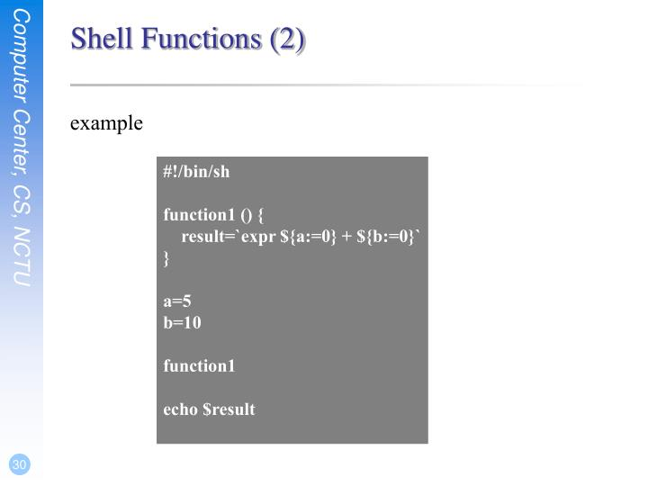 Shell Functions (2)