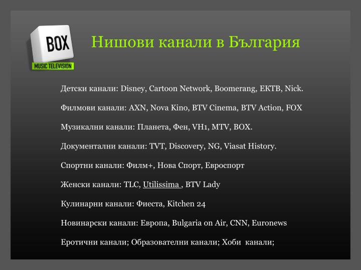 Нишови канали в България