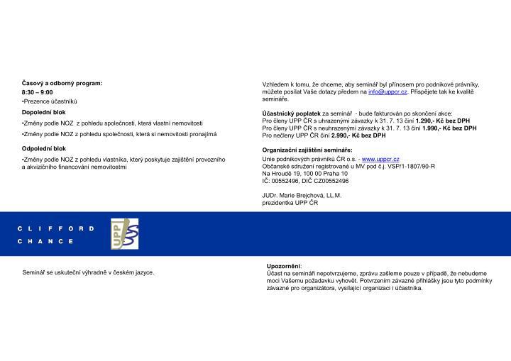 Časový a odborný program: