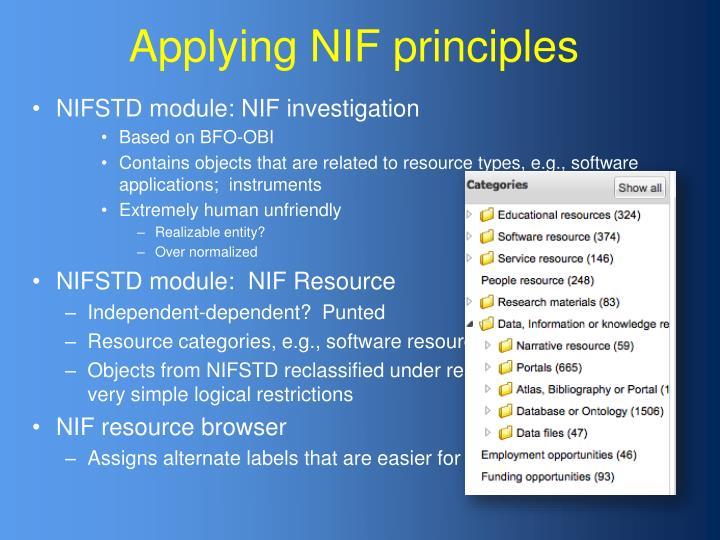 Applying NIF principles