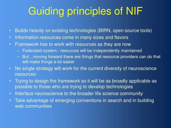 Guiding principles of NIF