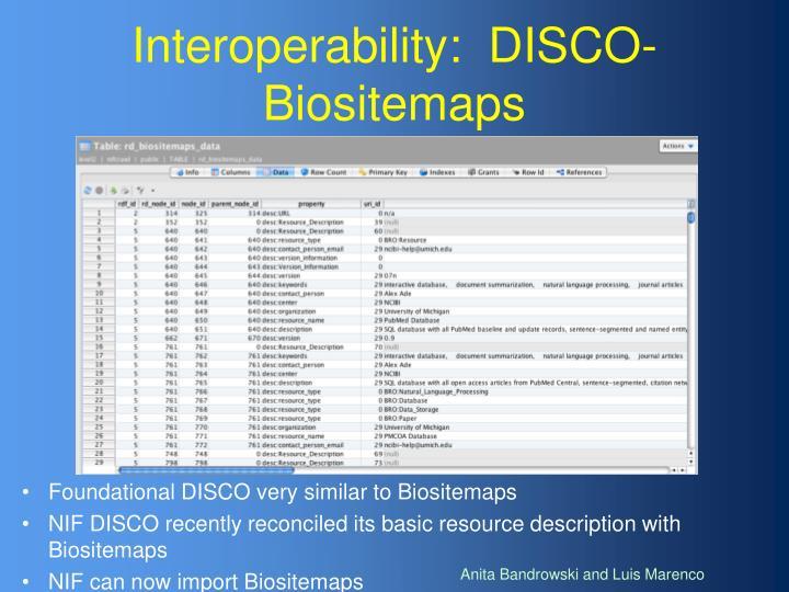 Interoperability:  DISCO-Biositemaps