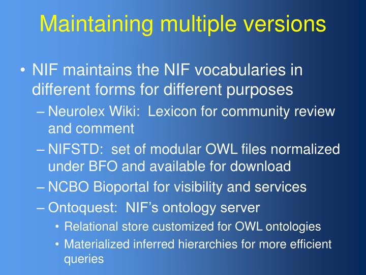 Maintaining multiple versions
