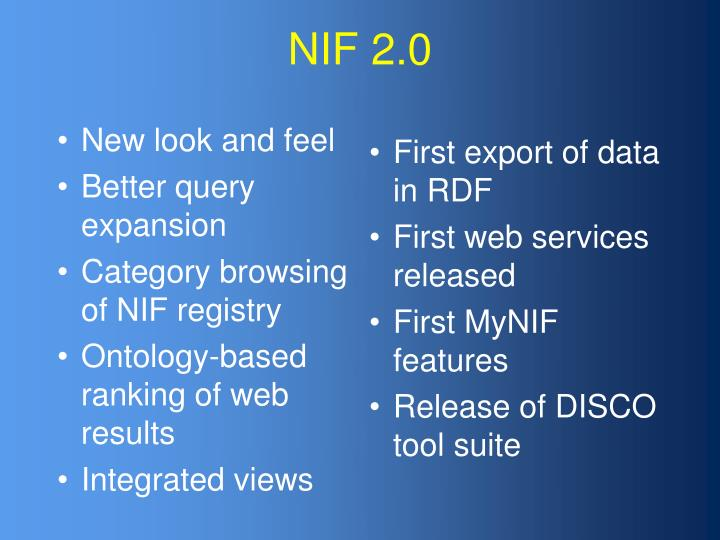 NIF 2.0