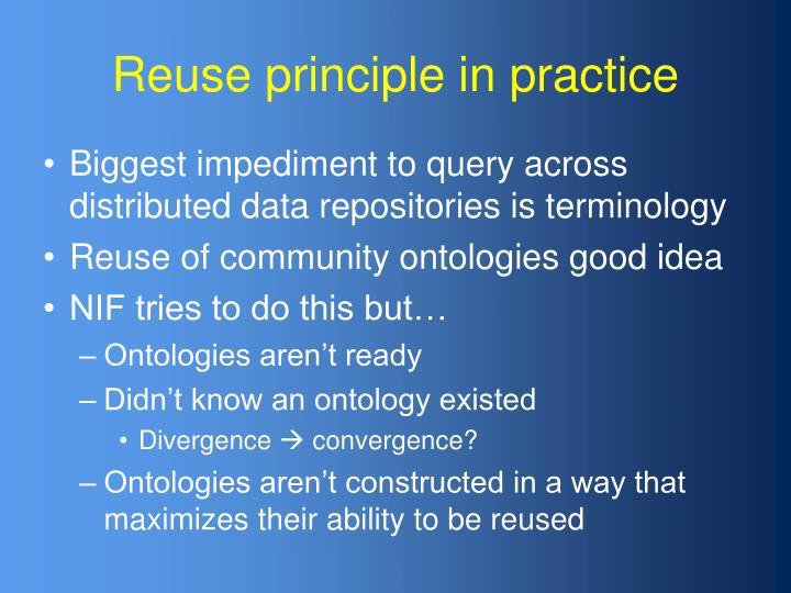Reuse principle in practice