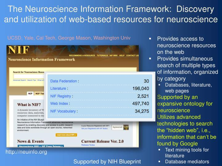 The Neuroscience Information Framework:  Discovery and utilization of web-based resources for neuroscience