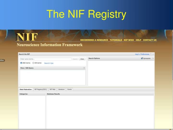 The NIF Registry