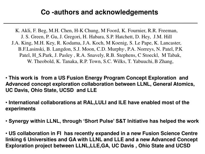 Co authors and acknowledgements