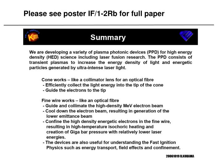 Please see poster IF/1-2Rb for full paper
