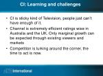 ci learning and challenges