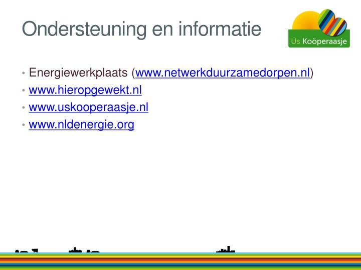 Ondersteuning en informatie