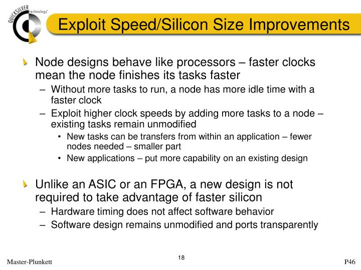 Exploit Speed/Silicon Size Improvements