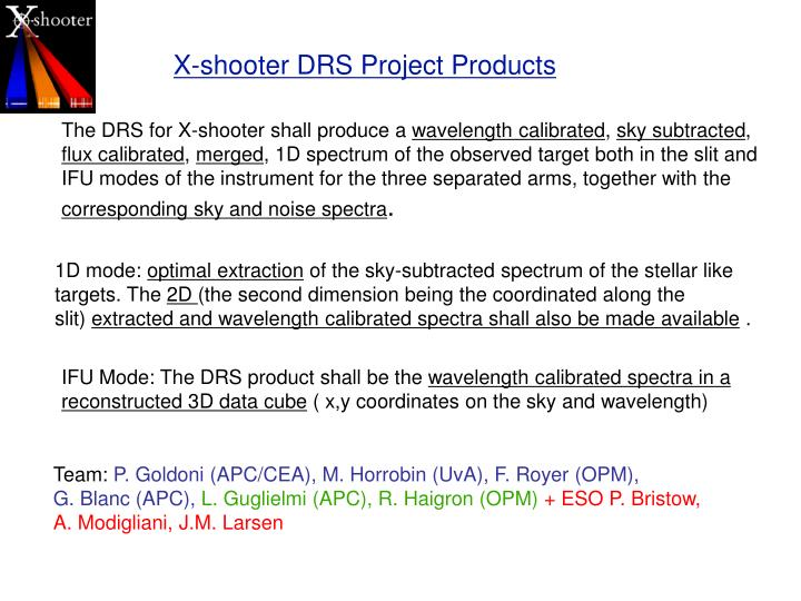 X-shooter DRS Project Products