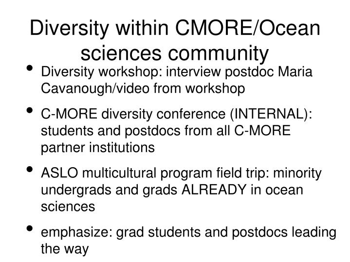 Diversity within cmore ocean sciences community