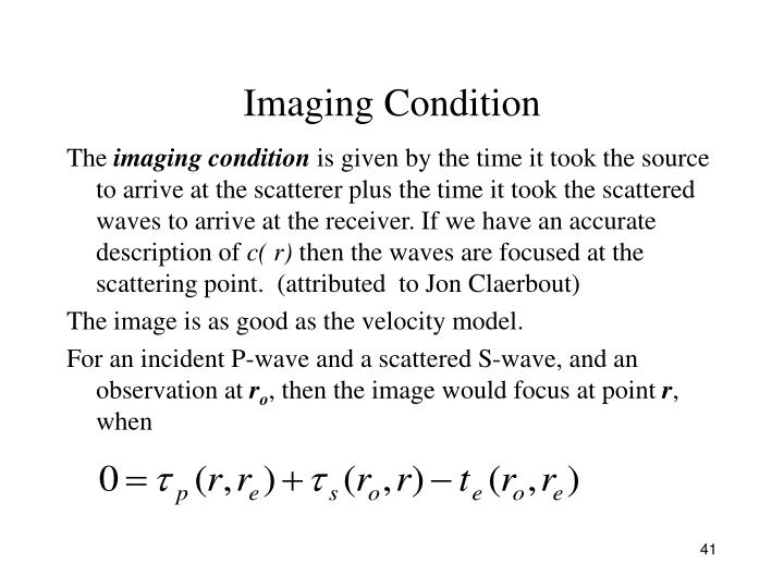 Imaging Condition