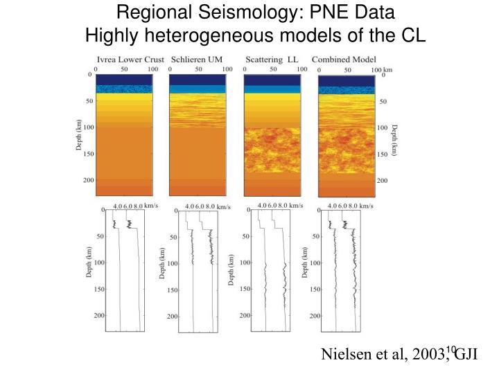 Regional Seismology: PNE Data