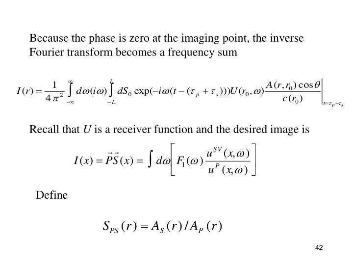 Because the phase is zero at the imaging point, the inverse Fourier transform becomes a frequency sum