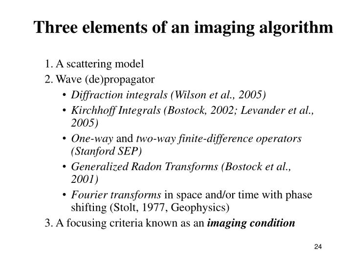 Three elements of an imaging algorithm