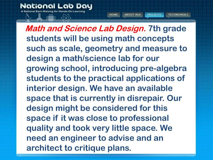 Math and Science Lab Design.
