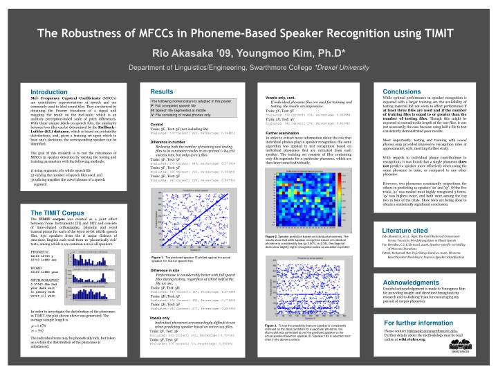 The Robustness of MFCCs in Phoneme-Based Speaker Recognition using TIMIT