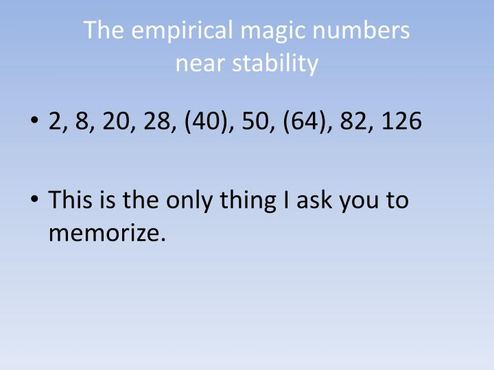 The empirical magic numbers