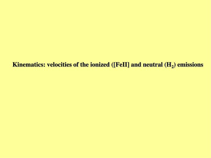 Kinematics: velocities of the ionized ([FeII] and neutral (H