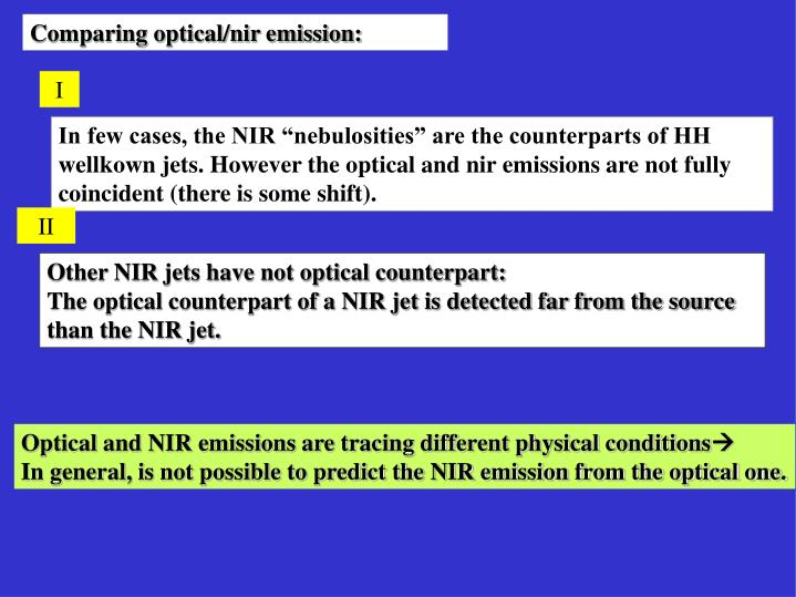 Comparing optical/nir emission: