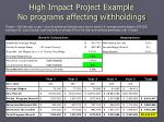 high impact project example no programs affecting withholdings