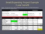 small expanding project example 3 year benefit