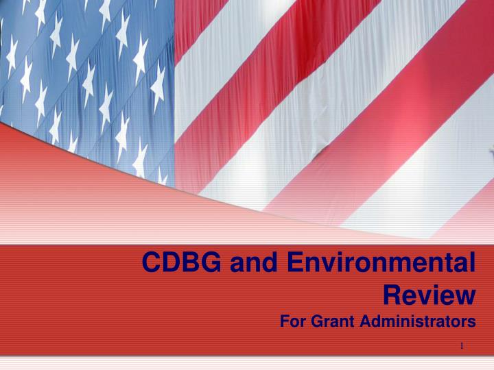 cdbg and environmental review for grant administrators