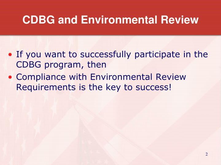 CDBG and Environmental Review